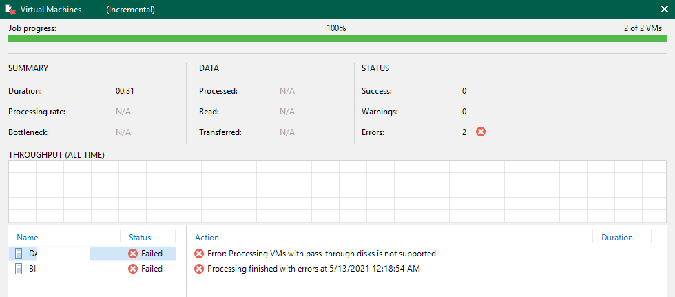 Error Processing VMs with pass-through disks is not supported