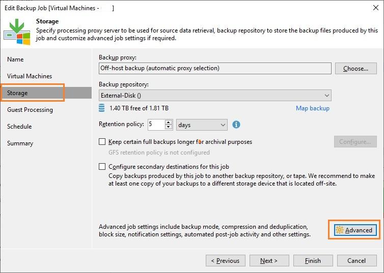 Veeam Backup and Replication Storage - Advanced Settings